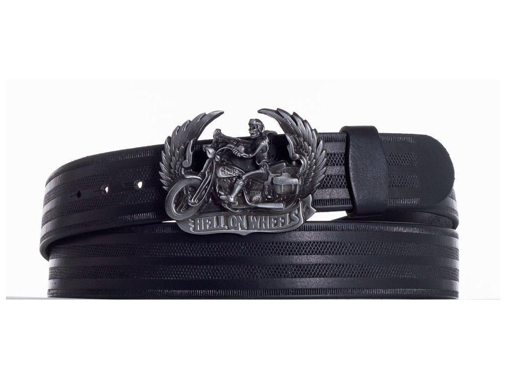 Černý kožený pásek motorkář pr