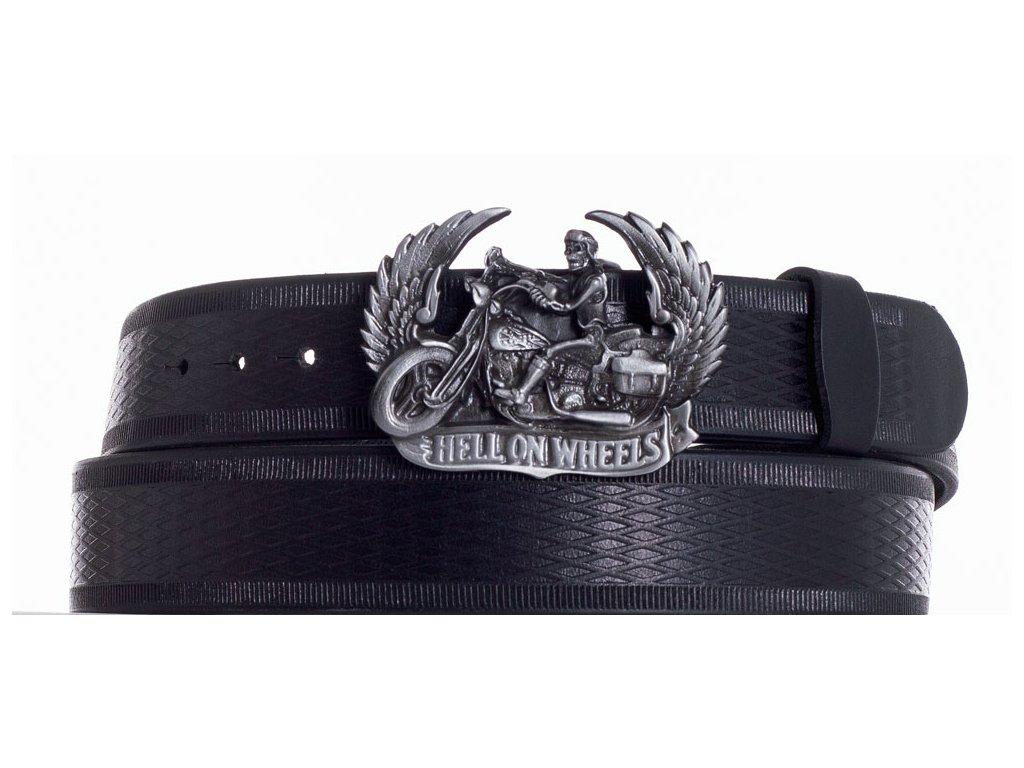 Černý kožený pásek motorkář vr