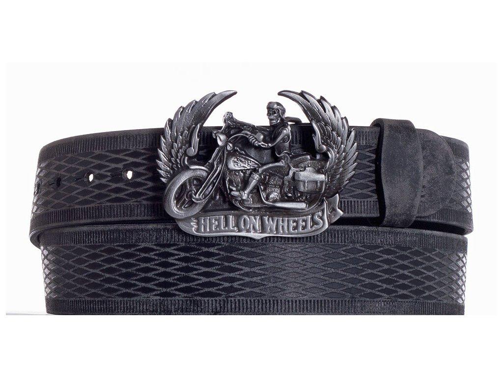Černý kožený pásek motorkář vrb