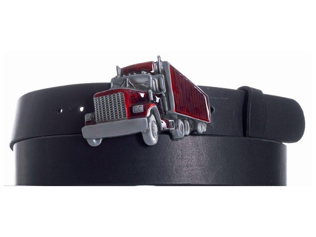 Pásek černý kožený kamion