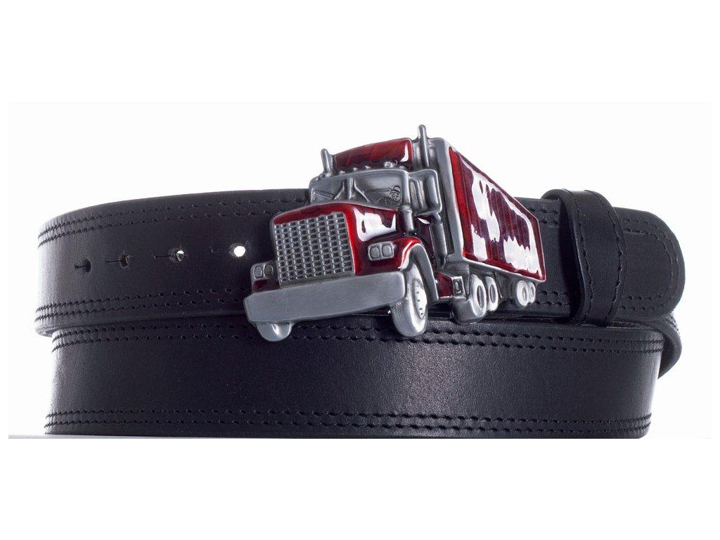 Pásek černý kožený kamion 2obč