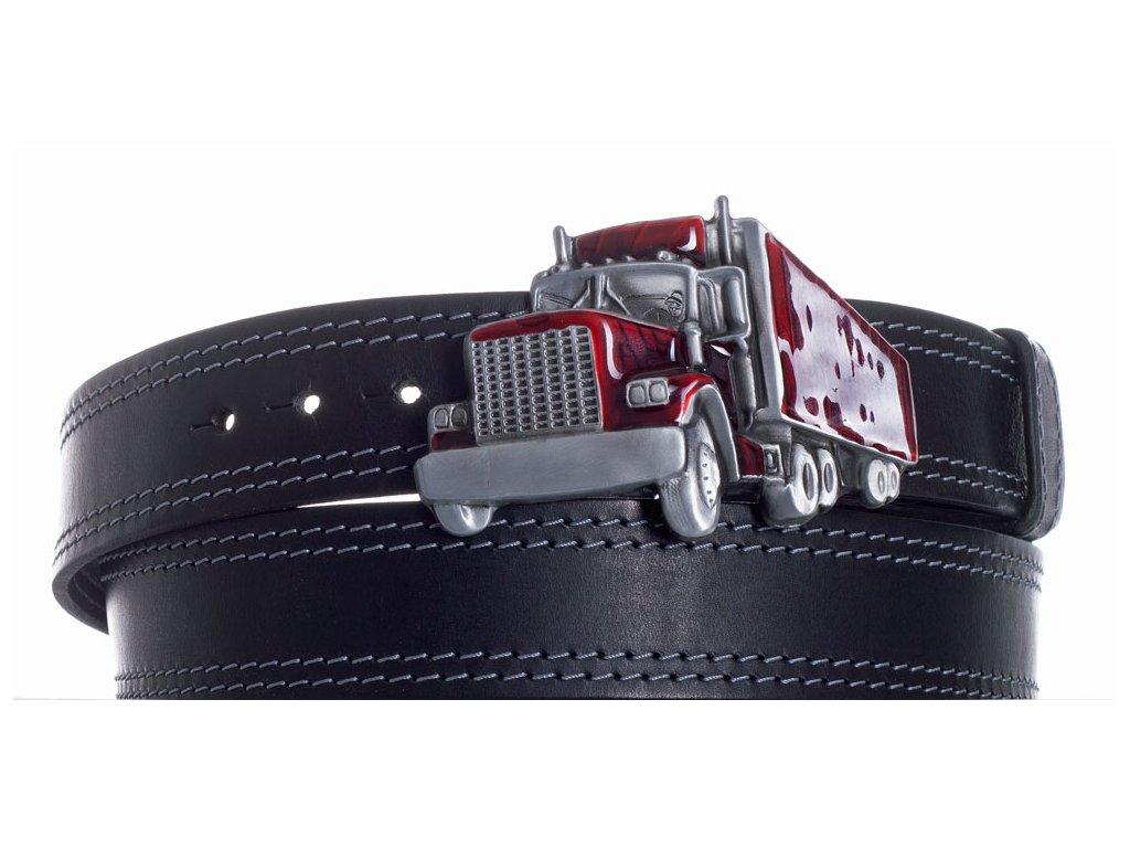 Pásek černý kožený kamion 2obš