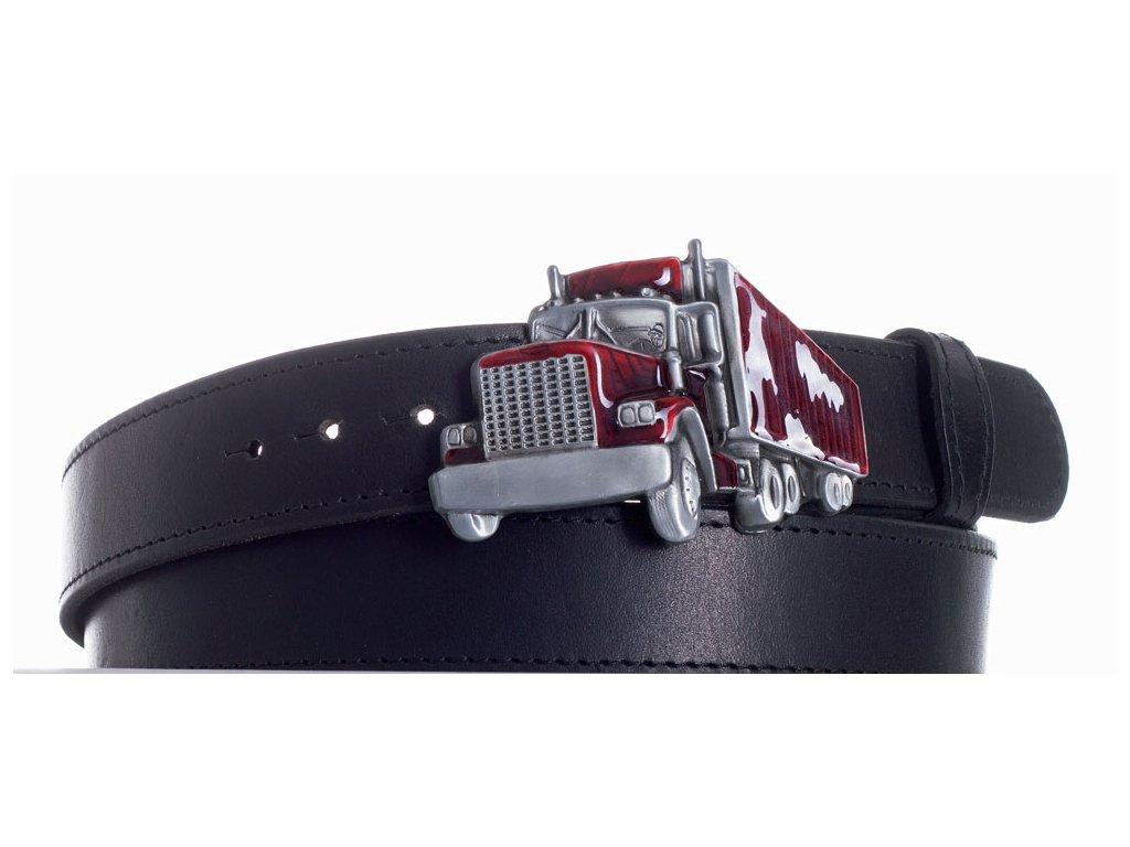 Pásek černý kožený kamion obč