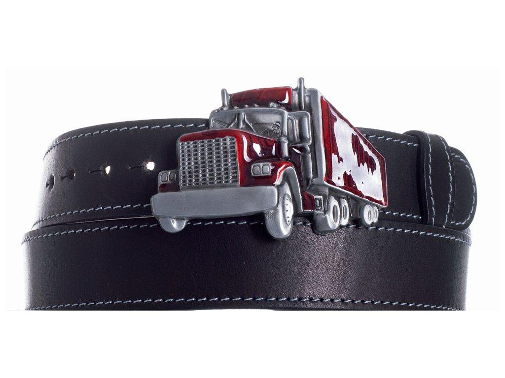 Pásek černý kožený kamion obš