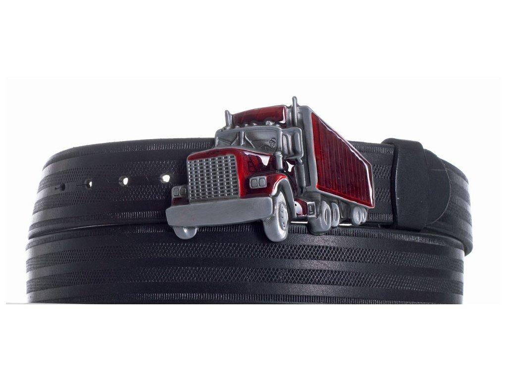 Pásek černý kožený kamion pr