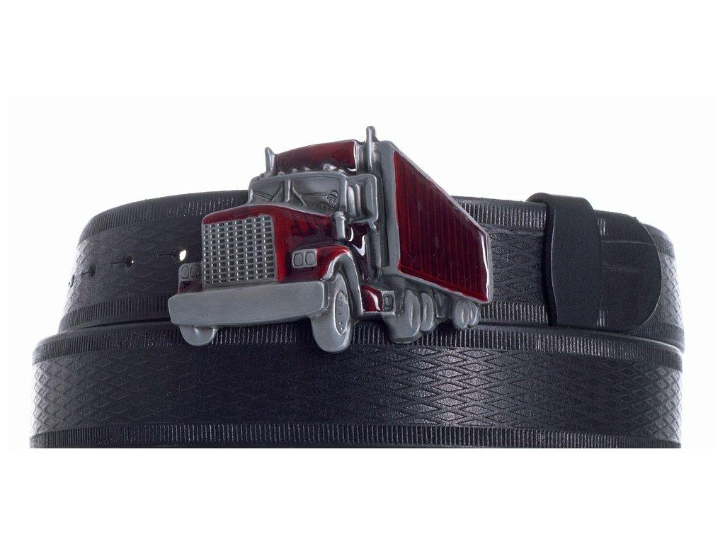 Pásek černý kožený kamion vr
