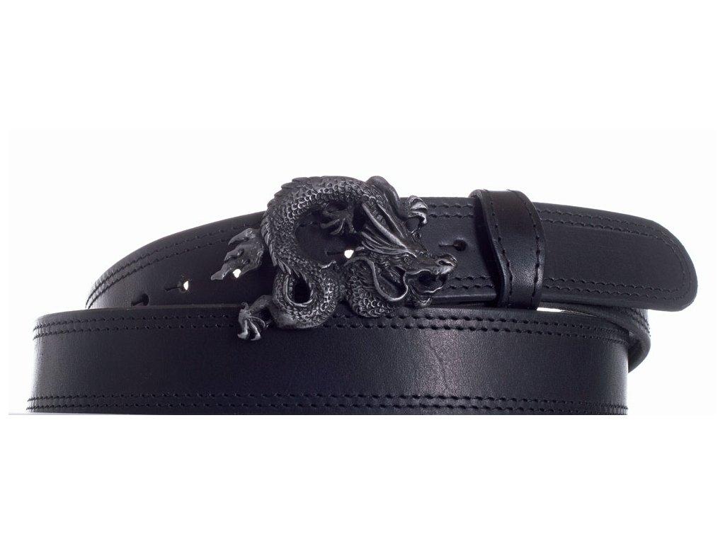 Pásek černý kožený drak 2obč