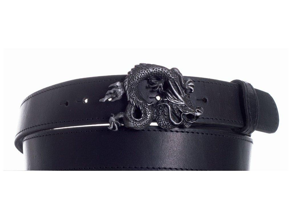 Pásek černý kožený drak obč