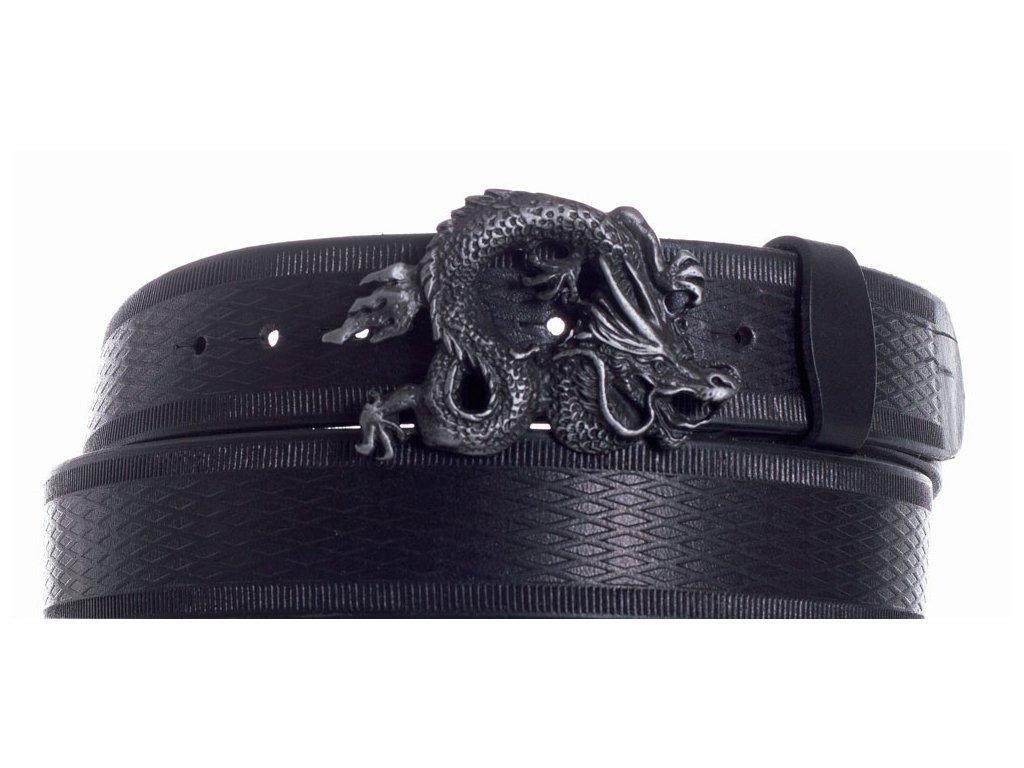 Pásek černý kožený drak vr