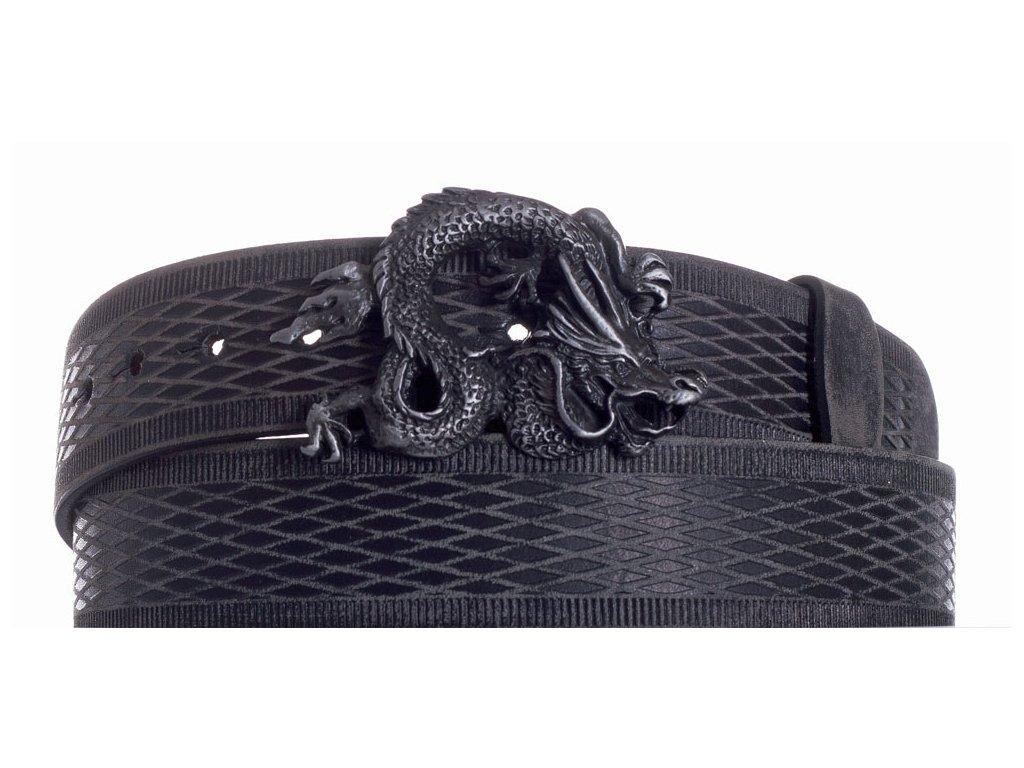 Pásek černý kožený drak vrb