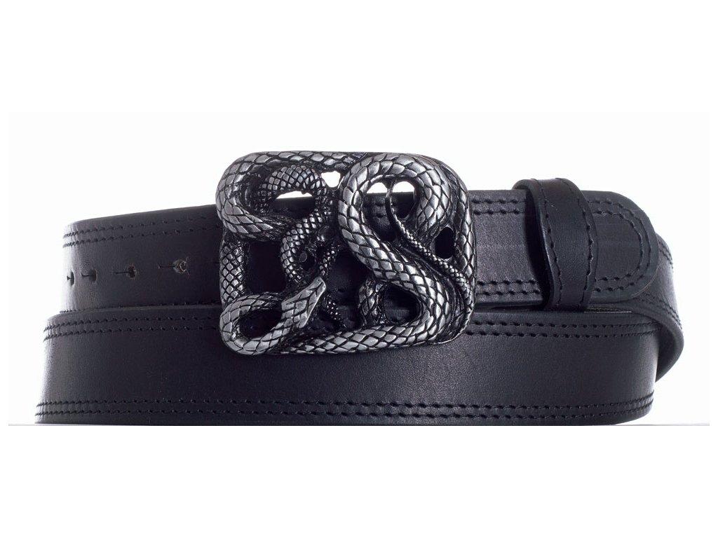 Pásek černý kožený had 2obč