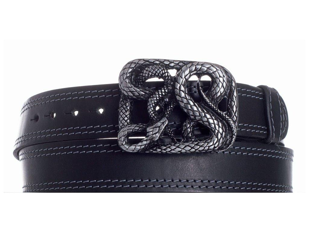 Pásek černý kožený had 2obš