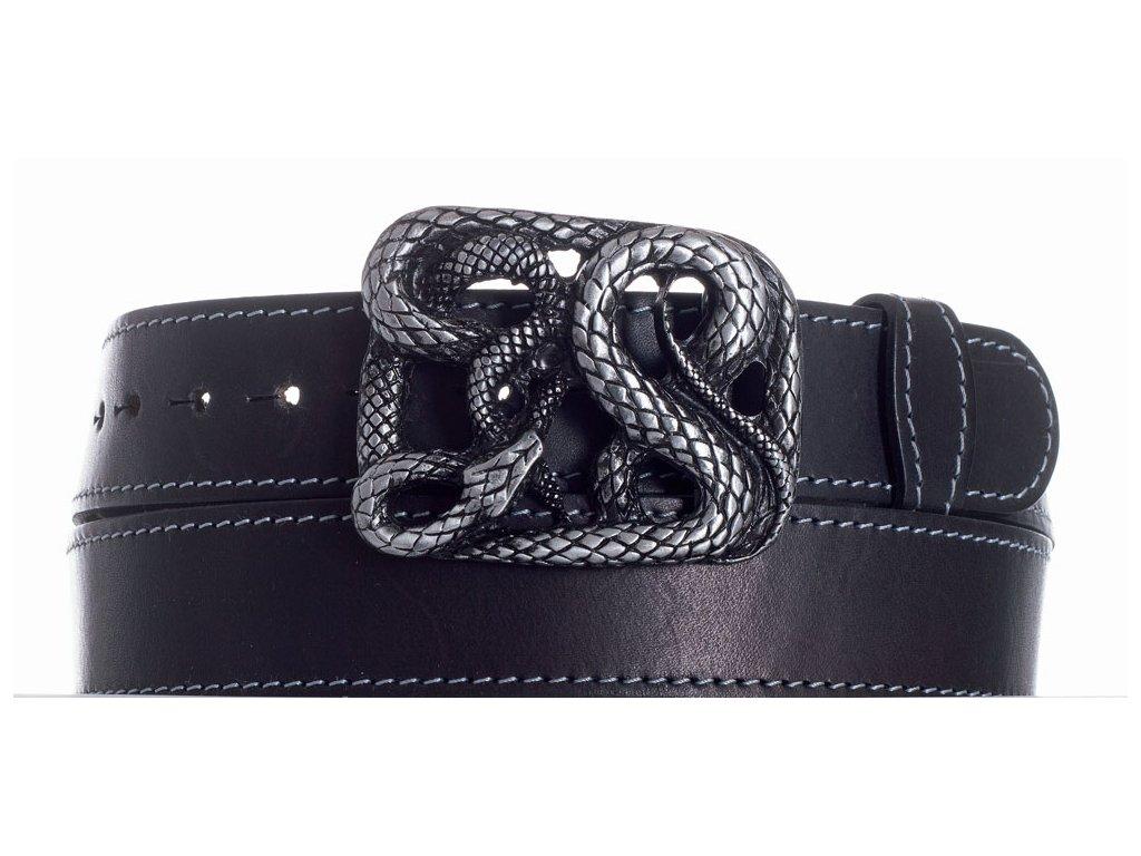 Pásek černý kožený had obš