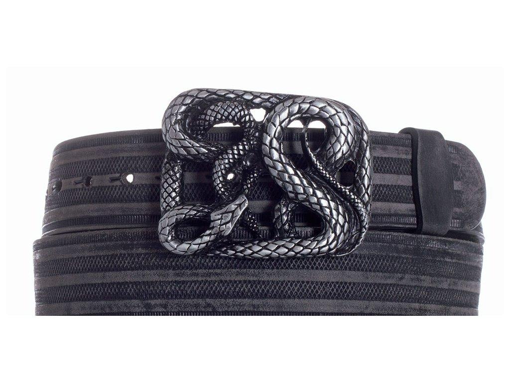 Pásek černý kožený had prb