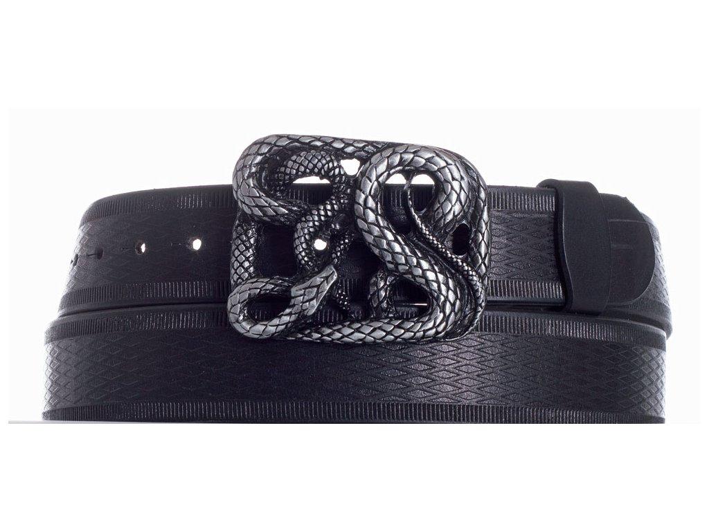 Pásek černý kožený had vr