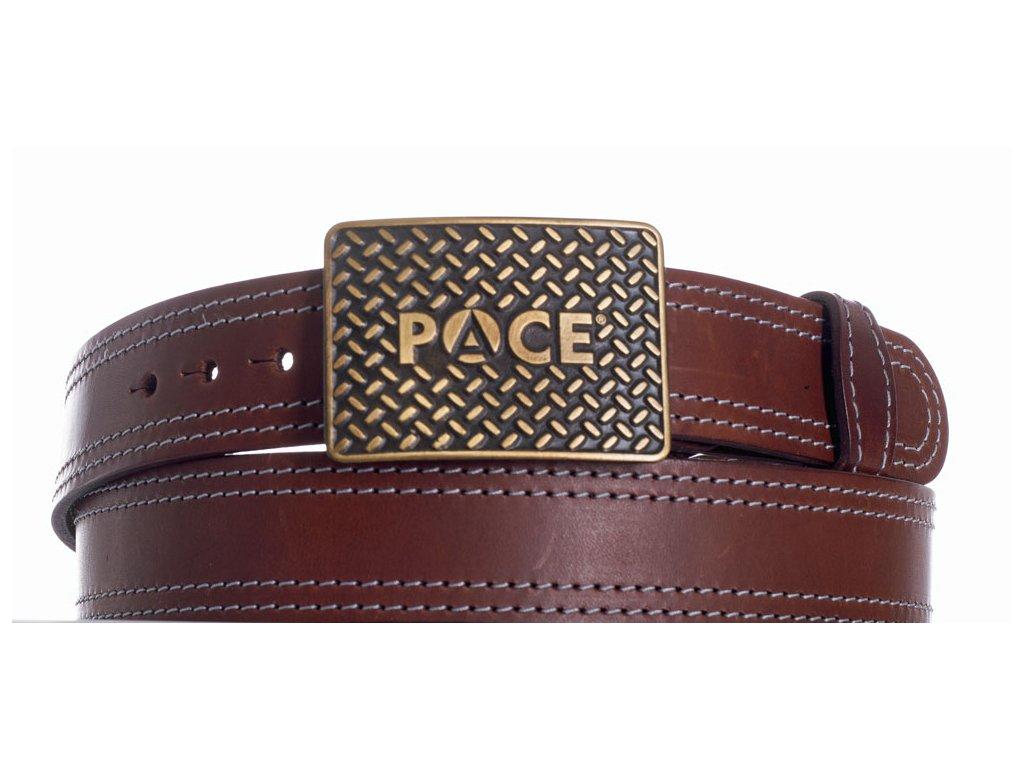 Hnědý kožený pásek pace ob2