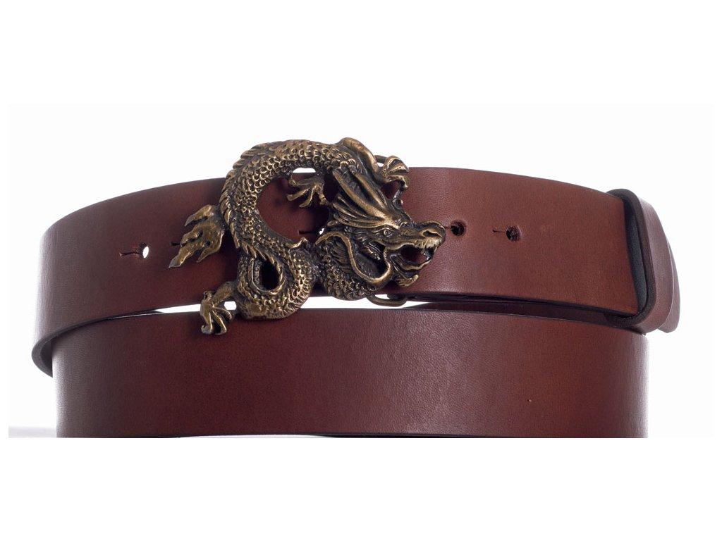 Hnědý kožený pásek drak