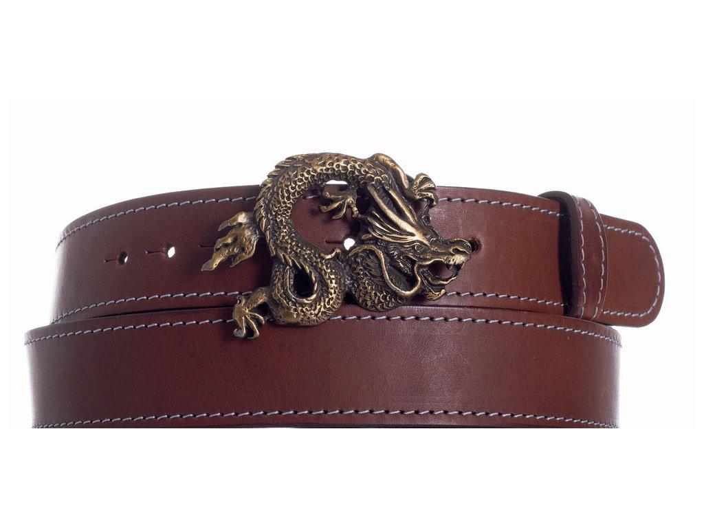 Hnědý kožený pásek drak ob