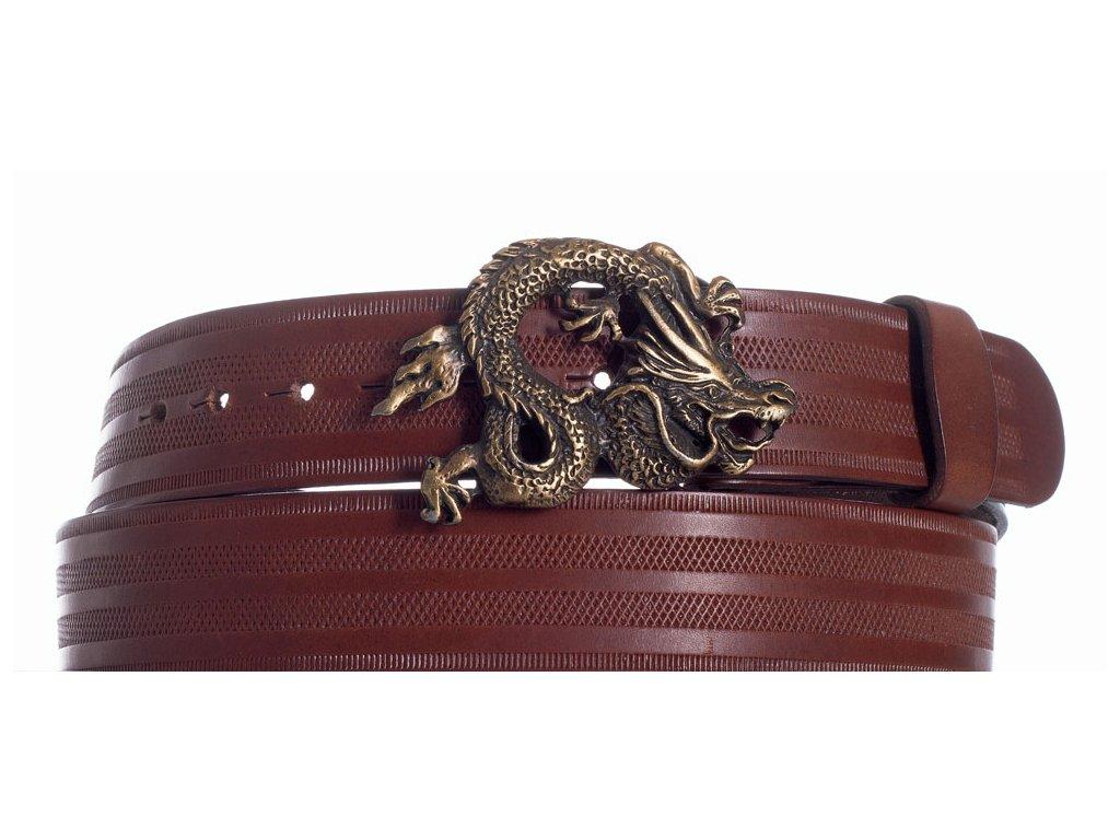 Hnědý kožený pásek drak pr