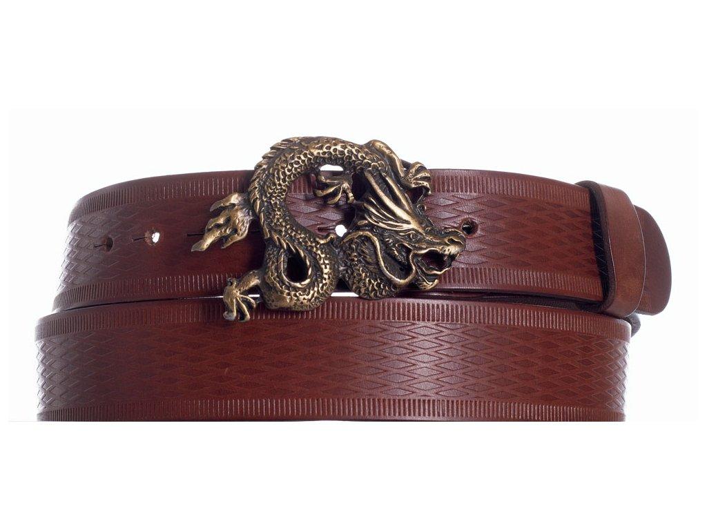 Hnědý kožený pásek drak vr