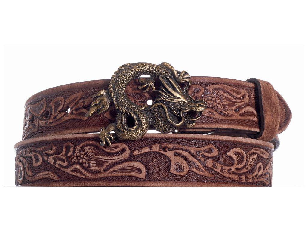 Hnědý kožený pásek drak vzb