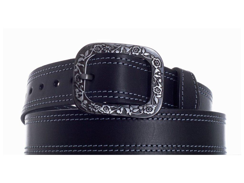 černý kožený pásek 69 2ob