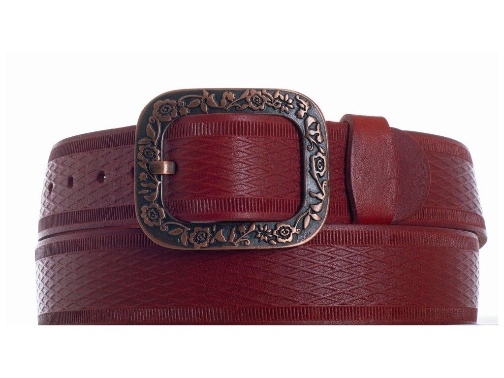 červený kožený pásek vr
