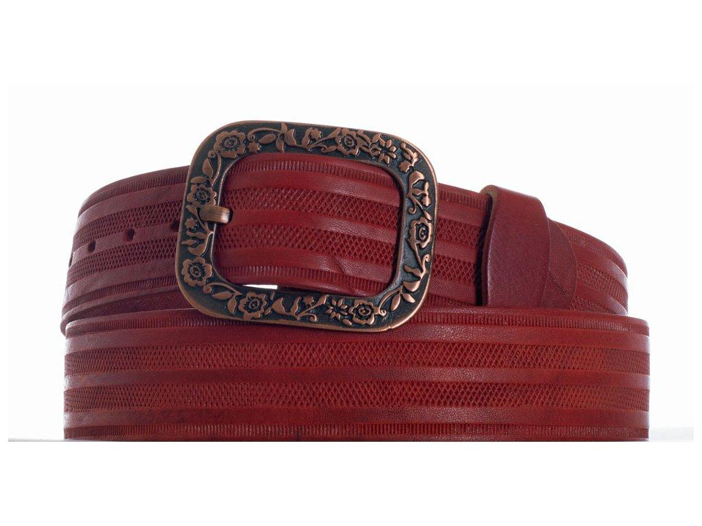 kožený pásek červený vr
