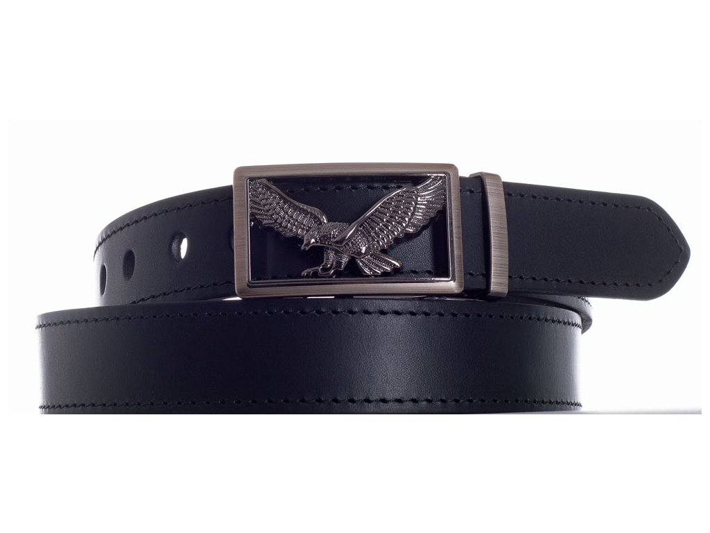 černý kožený pásek orel čob