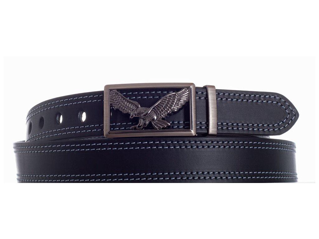 černý kožený pásek orel 2šob