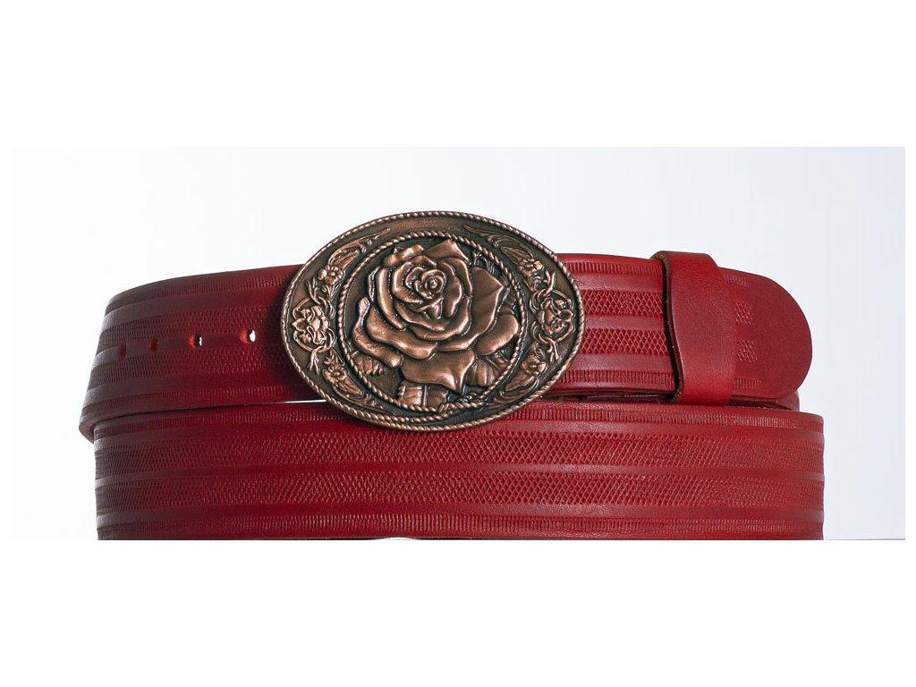 červený kožený opasek květ pr