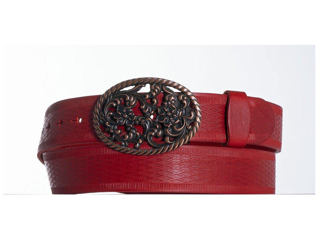 červený kožený opasek růže vr