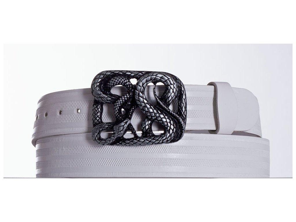 Bílý kožený opasek had pr
