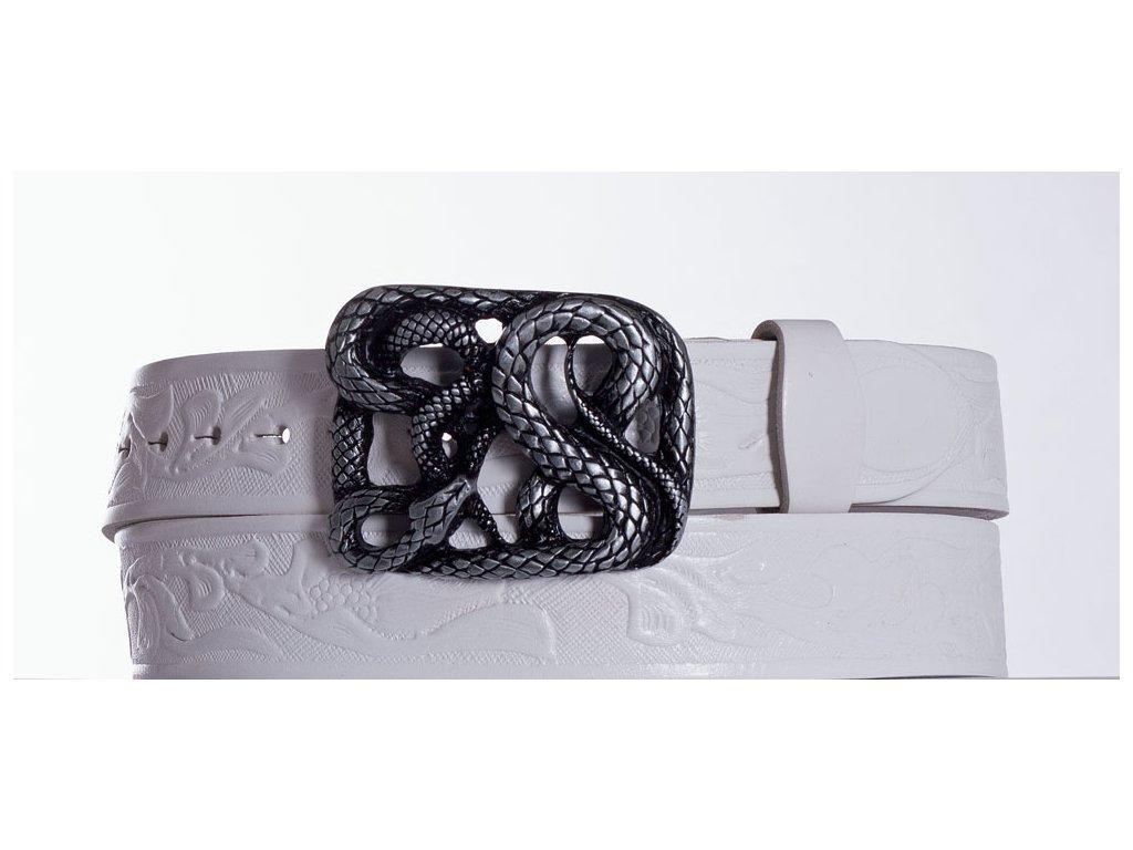 Bílý kožený opasek had vz