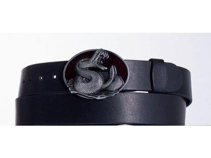 Kožený pásek černý kobra