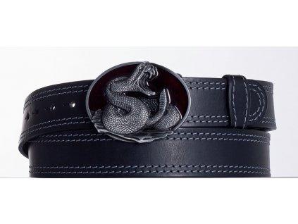 Kožený pásek černý kobra ob2š