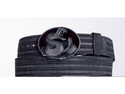 Kožený pásek černý kobra prb