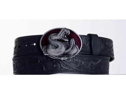 Kožený pásek černý kobra vz