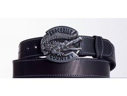 Kožený pásek černý krokodýl obš