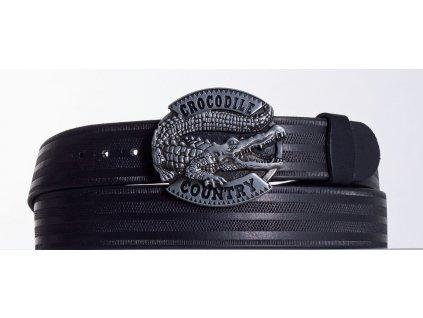 Kožený pásek černý krokodýl pr