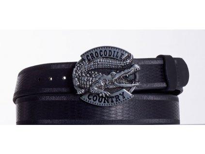 Kožený pásek černý krokodýl vr