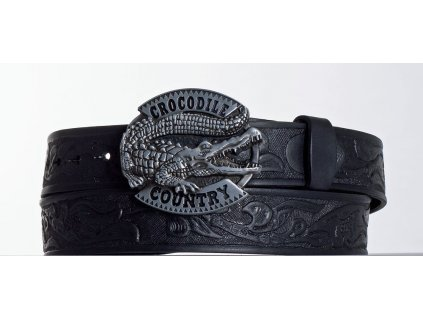 Kožený pásek černý krokodýl vz