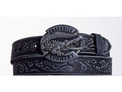 Kožený pásek černý krokodýl vzb