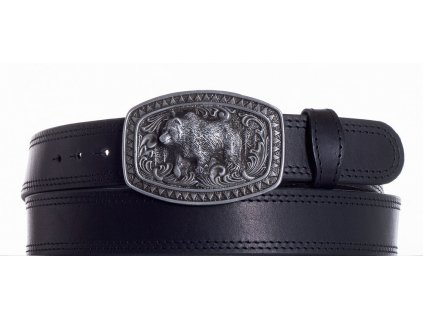 černý kožený pásek medvěd ob2č