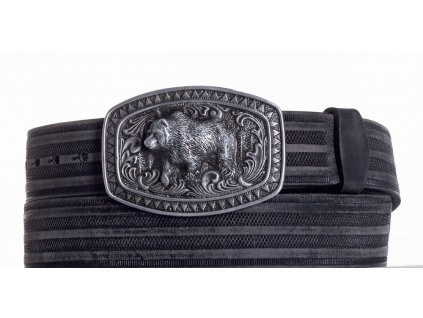 černý kožený pásek medvěd prb