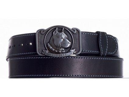 černý kožený pásek pitbul obš
