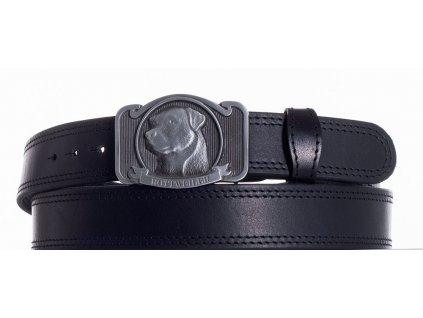 černý kožený pásek rotwajler ob2č