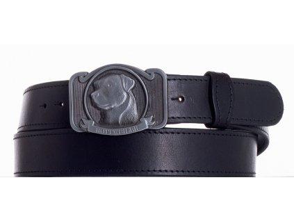 černý kožený pásek rotwajler obč