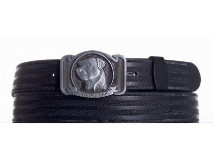 černý kožený pásek rotwajler pr