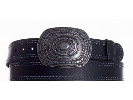 Černý kožený pásek aztec ob2š